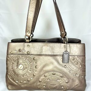 Coach Carry All Studded Applique Parchment Handbag
